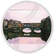 Ponte Vecchio Sunset Photograph Round Beach Towel
