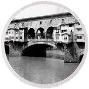 Ponte Vicchio Bridge In Florence Italy - C 1905 Round Beach Towel