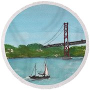Ponte Vinte E Cinco De Abril Round Beach Towel
