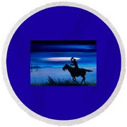 Pony Express Rider Blue Round Beach Towel