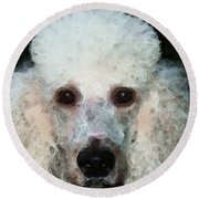 Poodle Art - Noodles Round Beach Towel by Sharon Cummings