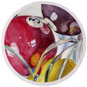Pool Balls In A Vase Round Beach Towel