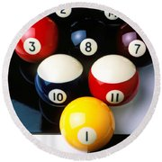 Pool Balls On Tiles Round Beach Towel by Garry Gay