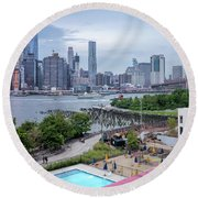 Pool With A View, Brooklyn, New York #130706 Round Beach Towel
