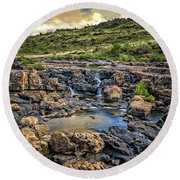 Pools And Waterfalls Round Beach Towel