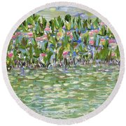 Pools Of Light Round Beach Towel
