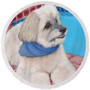 Poolside Puppy Round Beach Towel