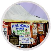 Poor Monkey's Juke Joint Round Beach Towel