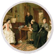 Poor Relations Round Beach Towel by George Goodwin Kilburne