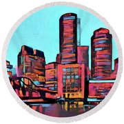 Pop Art Boston Skyline Round Beach Towel