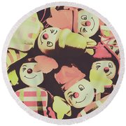 Pop Art Clown Circus Round Beach Towel