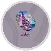 Pop Art Eiffel Tower Graphic Style Round Beach Towel