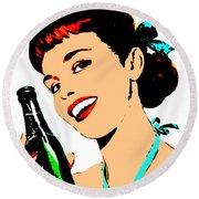 Pop Art Girl With Soda Bottle Round Beach Towel