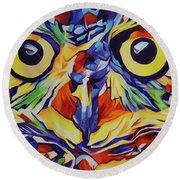 Pop Art Owl Face-1 Round Beach Towel
