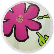 Pop Art Pansy Round Beach Towel