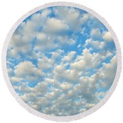Popcorn Clouds Round Beach Towel