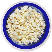 Popcorn In Glass Bowl On Blue Background Round Beach Towel