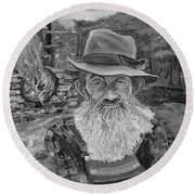 Popcorn Sutton - Black And White - Rocket Fuel Round Beach Towel