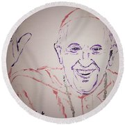 Pope Francis Waves Round Beach Towel