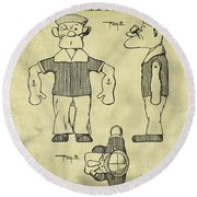 Popeye Doll Patent 1932 In Weathered Round Beach Towel