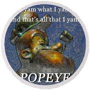 Popeye The Sailor  Round Beach Towel