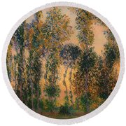 Poplars At Giverny - Sunrise Round Beach Towel