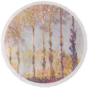 Poplars On The Banks Of The Epte Round Beach Towel