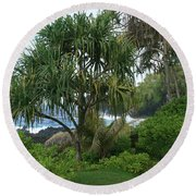 Poponi Maui Hawaii Round Beach Towel