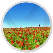 Poppies And A Photographer Round Beach Towel
