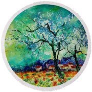 Poppies And Appletrees In Blossom Round Beach Towel