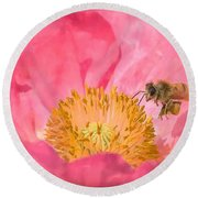 Poppies And Bumble Bee Round Beach Towel