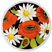 Poppies And Camomiles, Oil Painting Round Beach Towel