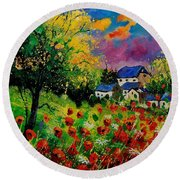 Poppies And Daisies 560110 Round Beach Towel