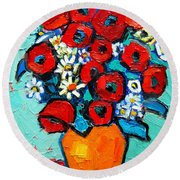 Poppies And Daisies Bouquet Round Beach Towel