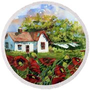 Poppies And Laundry Round Beach Towel