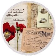 Poppies And Postcards Round Beach Towel