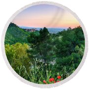 Poppies And The Alhambra Palace Round Beach Towel