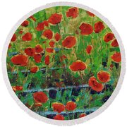 Poppies And Traverses 1 Round Beach Towel