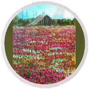 Poppies At Cedar Point Round Beach Towel