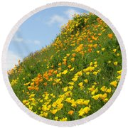 Poppies Hillside Meadow 17 Blue Sky White Clouds Giclee Art Prints Baslee Troutman Round Beach Towel