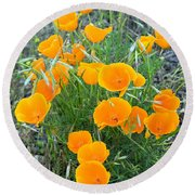 Poppies II Round Beach Towel