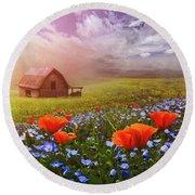 Poppies In A Dream Round Beach Towel