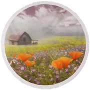 Poppies In A Dream Watercolor Painting Round Beach Towel