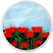 Poppies In A Field Round Beach Towel