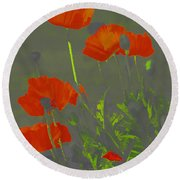 Poppies In Neon Round Beach Towel