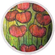 Poppies In Oil Round Beach Towel