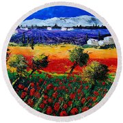 Poppies In Provence Round Beach Towel