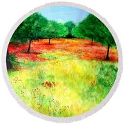 Poppies In The Almond Grove Round Beach Towel