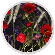 Poppies In The Corn Round Beach Towel
