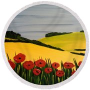 Poppies In The Hills Round Beach Towel